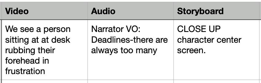 multi-column video script template