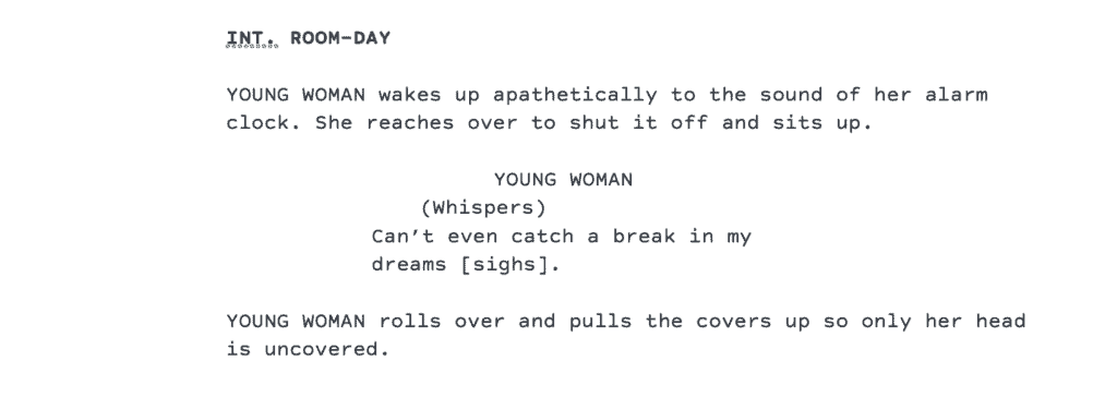 This is an example of a narrative script format