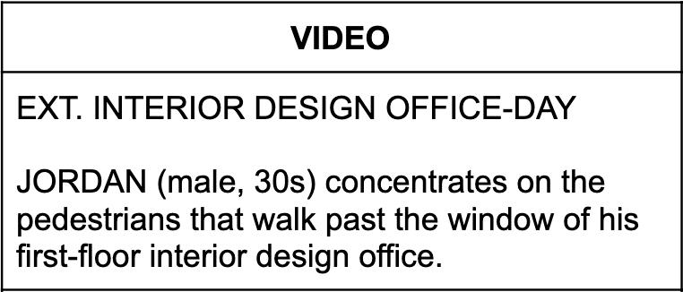Description of a video scene.