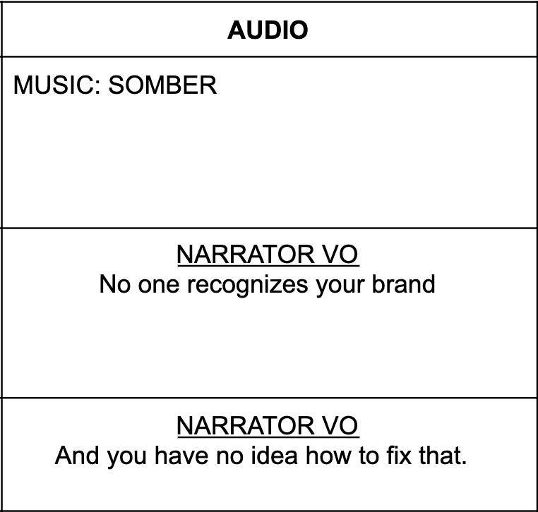 Table with 3 rows describing music and a narrator's voice over lines.