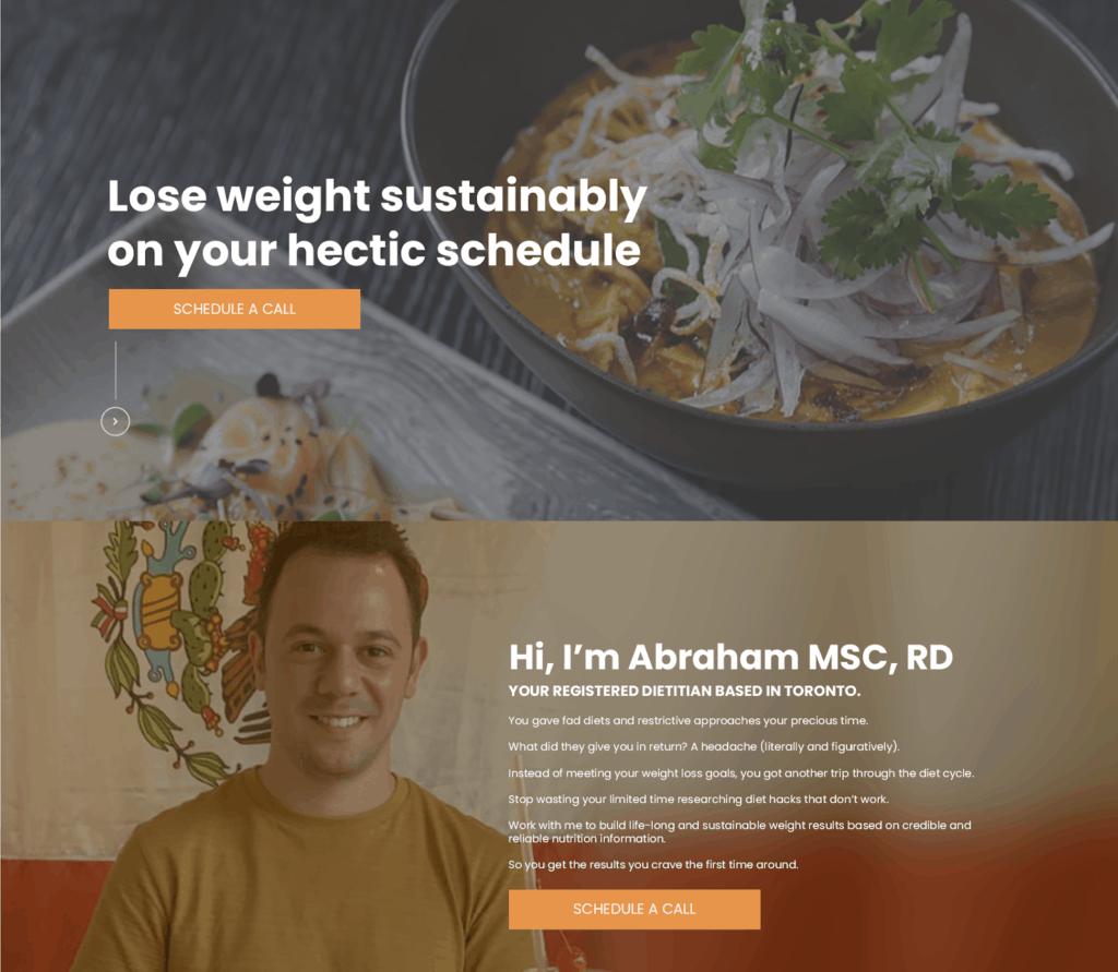 nutrition copywriting homepage sample