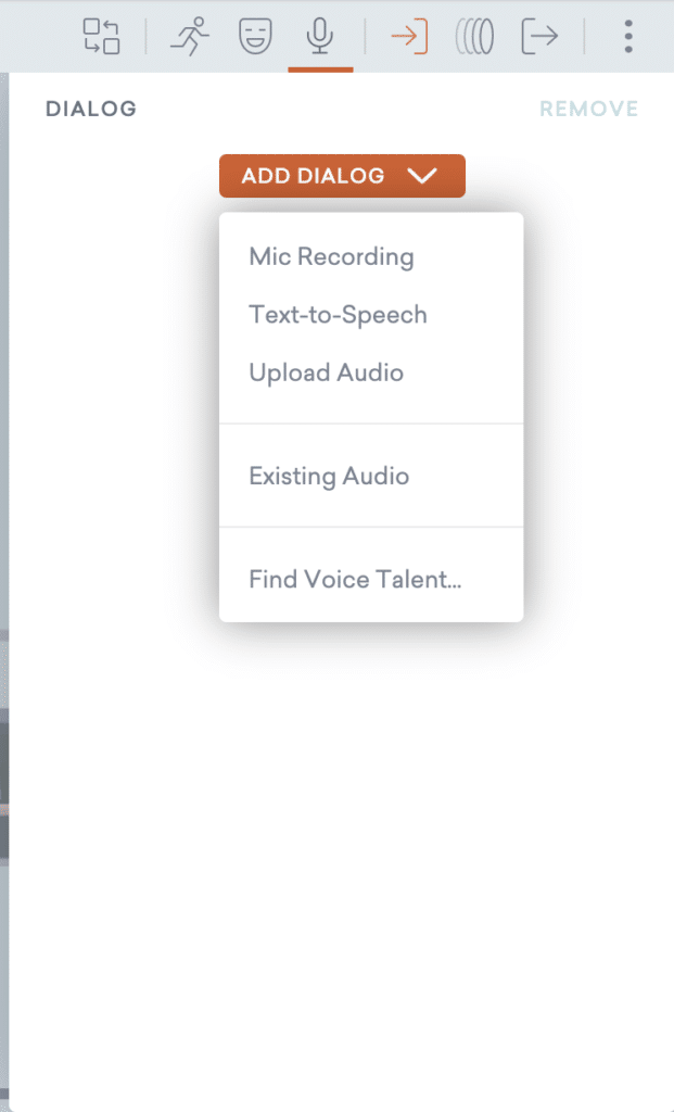 Upload Audio files for character dialogue.