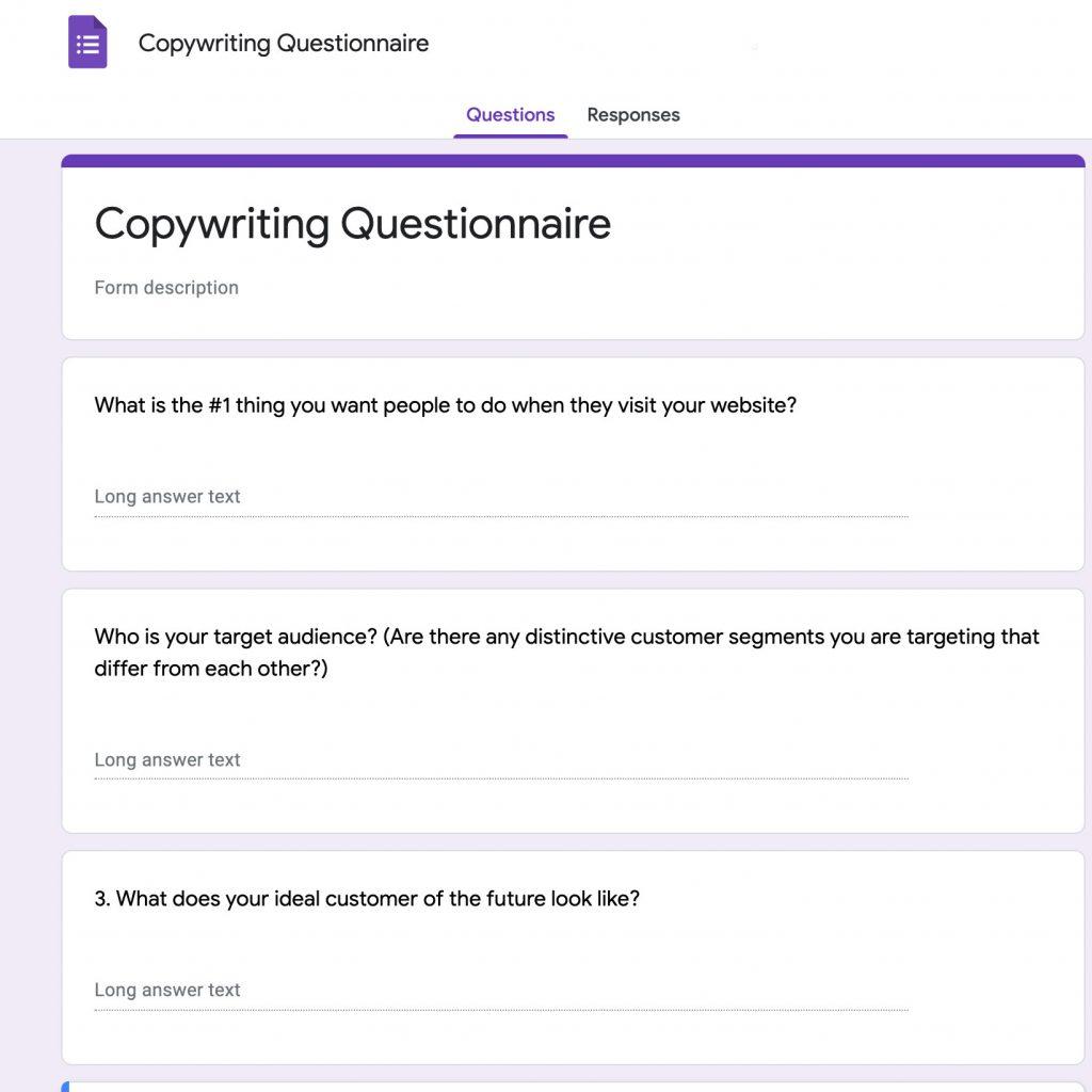 Copywriting Questionnaire