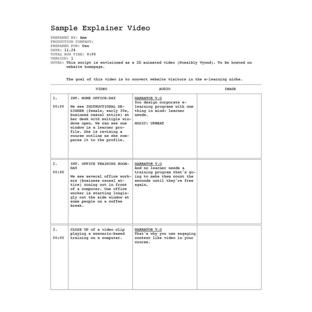 Scriptwriting Sample
